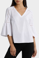 Basque NEW Vee Neck Braid Insert Sleeve Drama Top White