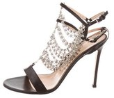 Gianvito Rossi Leather Chain-Embellished Sandals