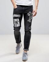 Love Moschino Tattoo Print Slim Fit Jeans