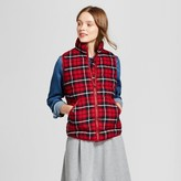 A New Day Women's Quilted Plaid Puffer Vest - A New Day Red