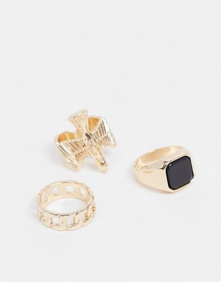Topshop statement ring multipack x 3 in gold