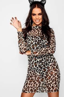 boohoo Halloween Leopard Mesh Bodysuit Midi Dress