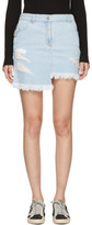 Versus Blue Denim Asymmetric Miniskirt