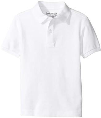 Nautica Husky Short Sleeve Pique Polo (Big Kids) (White) Boy's Short Sleeve Pullover