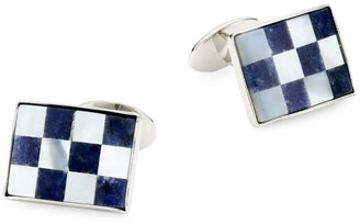 David Donahue 2-Piece Sterling Silver Sodalite & Mother Of Pearl Checkerboard Cufflink