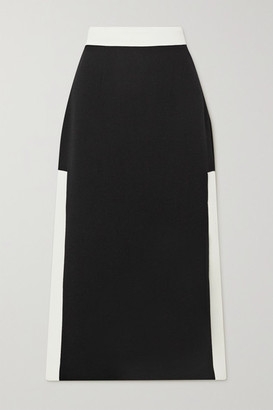 ROWEN ROSE Two-tone Wool-crepe Midi Skirt - Black
