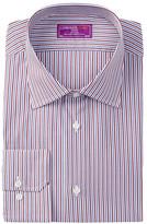 Lorenzo Uomo Long Sleeve Trim Fit Striped Dress Shirt