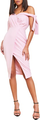 Lavish Alice Off the Shoulder Tie Sleeve Faux Wrap Dress