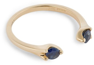 Anita Ko Yellow Gold and Blue Sapphire Orbit Ring