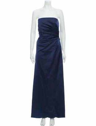 Reem Acra Silk Long Dress Blue