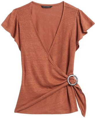 Banana Republic Petite Linen Wrap-Front Top