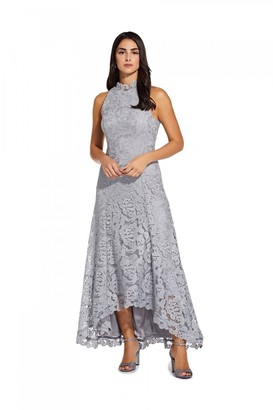 Adrianna Papell Metallic Lace Gown In Silver