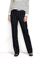 Classic Women's Pre-hemmed Wear to Work Trouser Pants-Graphite Blue Plaid