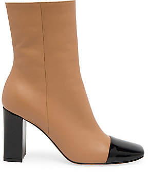 Gianvito Rossi Women's Logan Two-Tone Cap-Toe Leather Ankle Boots