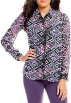 Jones New York Button Abstract Scroll Print Shirred Back HI-Low Hem Shirt