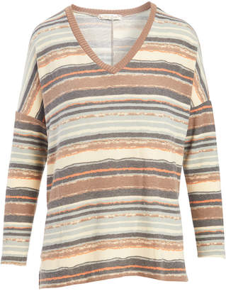 Tru Self Women's Tunics ALMOND - Almond Stripe V-Neck Sweater - Women