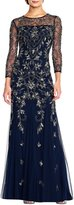 Adrianna Papell Beaded 3/4 Sleeve Gown