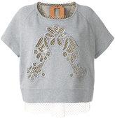No.21 layered net T-shirt - women - Cotton - 42