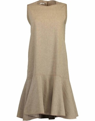 Brunello Cucinelli Linen Flounce Hem Dress