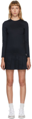 Thom Browne Navy Pleated Drop Waist Dress