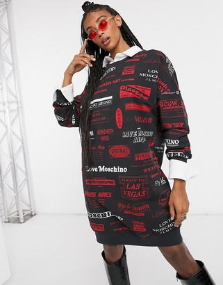 Love Moschino all-over logo jersey sweater dress in black