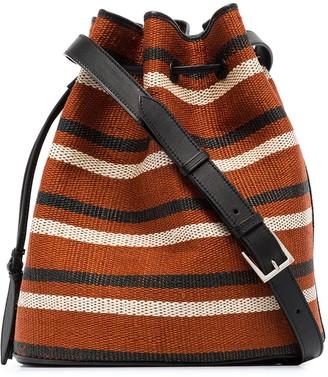 Hunting Season Tassel-Trimmed Striped Bucket Bag
