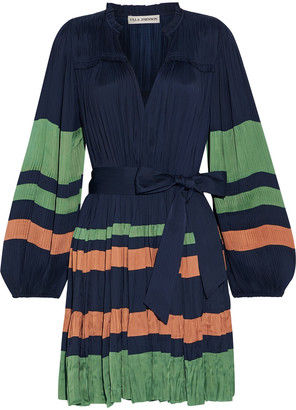 Ulla Johnson Striped Plisse-satin Mini Dress