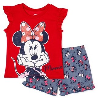 Minnie Mouse Disney Baby Girl Top & Shorts Outfit, 2pc set