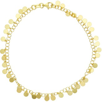 Primavera 24k Gold Over Silver Disc Chain Anklet