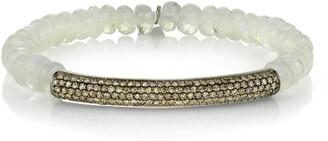 Sheryl Lowe Pave Diamond Bar Beaded Bracelet