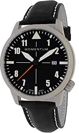 Momentum Men's Automatic Stainless Steel and Leather Casual Watch