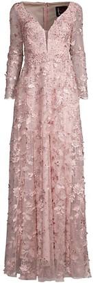 Mac Duggal Floral Applique Net Long-Sleeve A-Line Gown