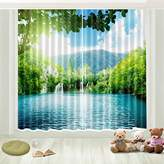LB 3D Blackout Scenic Curtains, for Kids Room Bedroom and Living Room,, with Image of Blue Lake and Green Forest 80X84 Inches (2 Panels Size)
