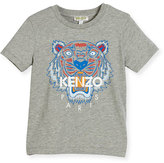 Kenzo Short-Sleeve Heathered Logo Tee, Gray, Size 2-4