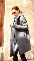 Etsy NEW Extra Warm Qilted Winter Asymmetric Extravagant Grey Hooded Coat/ Wool/Cashmere Blend/ Double Zi