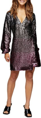 Topshop Ombre Sequin Long Sleeve Wrap Minidress