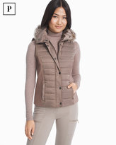 White House Black Market Petite Quilted Vest with Removable Faux Fur Trim Hood