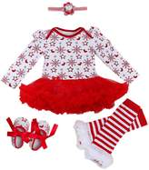 Happy Cherry 4pcs Newbron Baby Girls Christamas Tutu Dress Headband Baby Shoes Outfit Sets, S