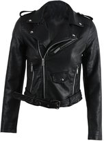 Simplee Apparel Women's Long Sleeve Zip Up Pu Leather Short Jackets