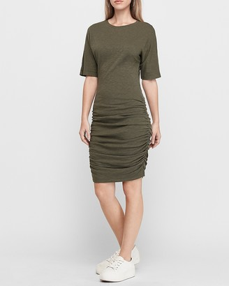 Express Ruched Side Dolman Sleeve T-Shirt Dress