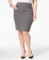 Alfani Plus Size Jacquard Houndstooth Pencil Skirt, Only at Macy's