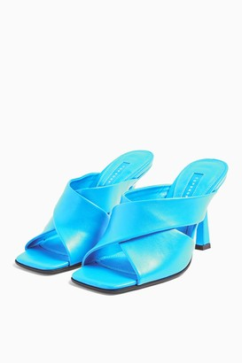 Topshop Womens Skyla Blue High Mules - Blue