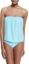 Tommy Bahama Solid Blouson Bandini Swim Top