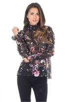 AX Paris Black Floral Frill Top