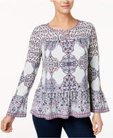 Style&Co. Style & Co Petite Printed Lattice-Neck Flounce Top, Created for Macy's