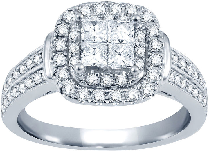 Nicole Miller Nicole By 1 CT. T.W. Princess & Round Diamond 14K White Gold Engagement Ring