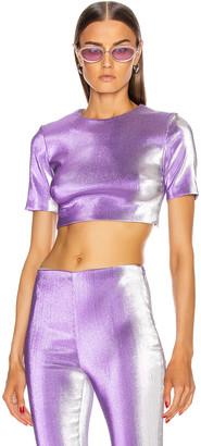 Area Short Sleeve Crop Top in Silver Violet | FWRD