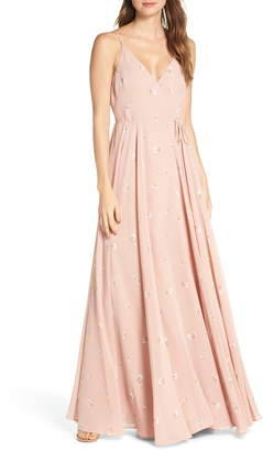 Jenny Yoo James Ditsy Floral Print Wrap Chiffon Evening Gown