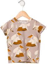 Mini Rodini Girls' Bird Print Short Sleeve Top