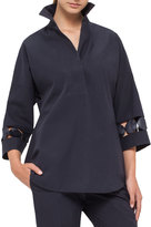 Akris Punto Punto Dot-Lace Tunic Blouse, Navy